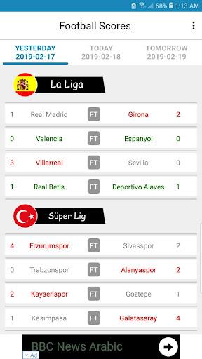 Live Football Scores 3.1.7 screenshots 1