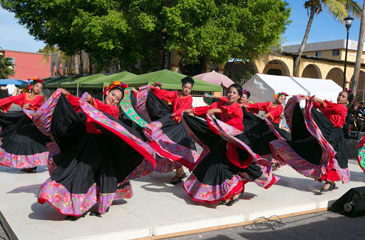 Dancers in Loreto.jpg - A swirl of red and classic moves: a dance troupe kicked off the daytime festivities.
