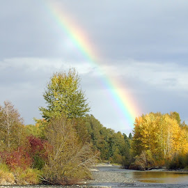 Peace by Cynthia Dodd - Novices Only Landscapes ( sky, rainbow, river, trees, landscape )