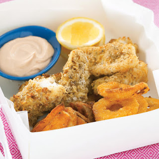 Seafood Medley with Dipping Sauce.