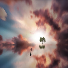 Distancia by Frank Quax - Digital Art People ( running, edited, tree, photoshop, clouds, manipulation, water, creative, landscape )