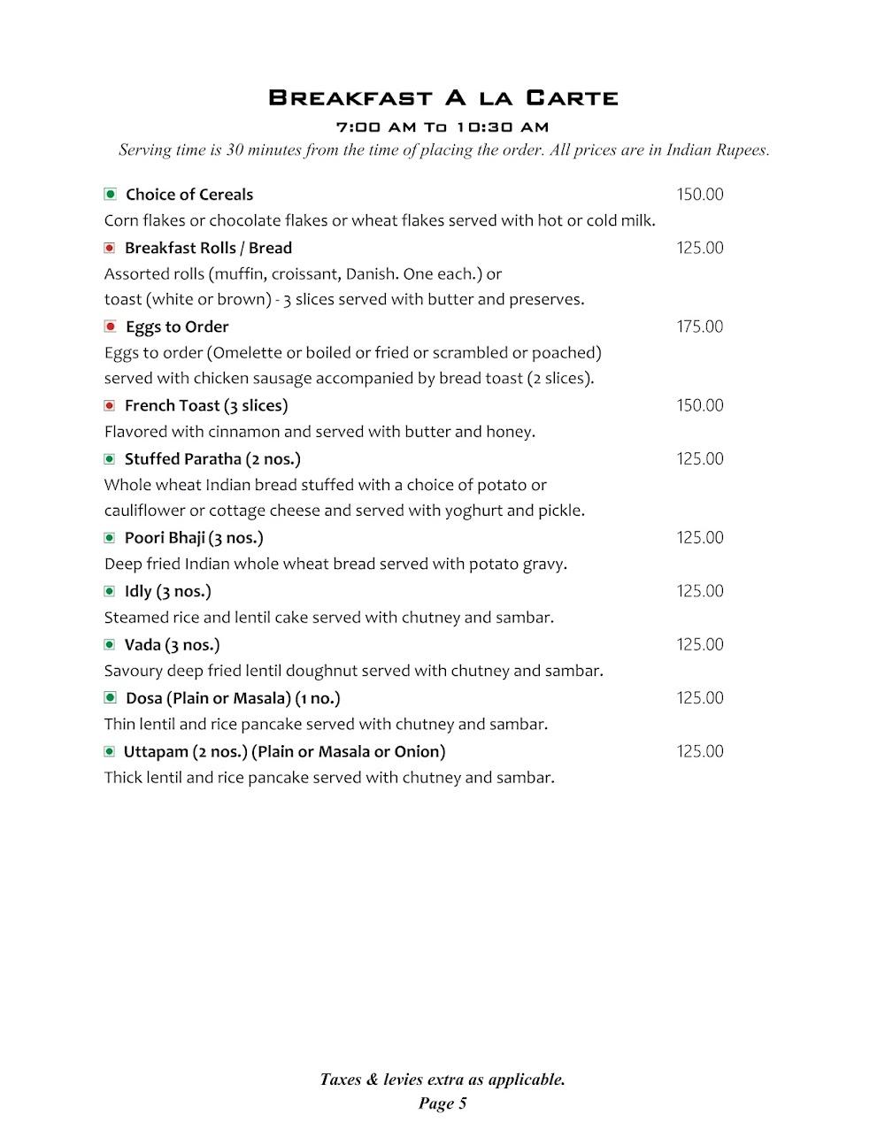 Cafe @ Elanza menu 2