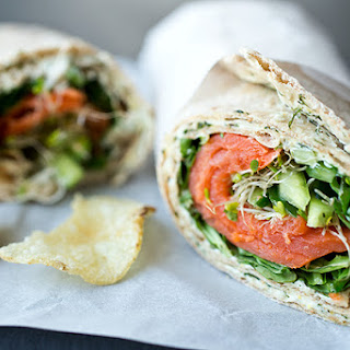 Smoked Salmon Lavash Wrap with Spicy Greens, Fresh Cucumber and Sprouts with Savory Lemon-Dill Cream Cheese Spread Recipe