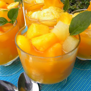 Tropical Fruit Salad with Passion Fruit Juice.