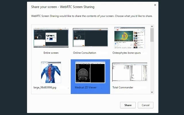 tEMed WebRTC Screen Sharing