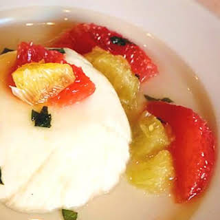 Lemon Mousse With Mint Syrup.