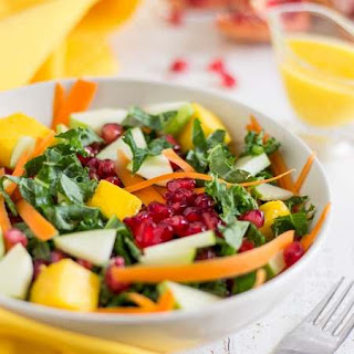 Healthy Kale Salad with Mango Dressing.