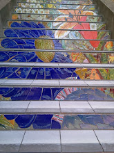 Photo: End of thirteenth full day of work (Sunday, November 13, 2013): Detail of large flowers on the second flight of steps from the bottom of the Hidden Garden Steps (16th Avenue, between Kirkham and Lawton streets in San Francisco's Inner Sunset District), where the 148-step ceramic-tile mosaic designed and created by project artists Aileen Barr and Colette Crutcher has been completely installed. KZ Tile workers remained on site all day to finish grouting the mosaic and the surfaces upon which visitors will walk. For more information about this volunteer-driven community-based project supported by the San Francisco Parks Alliance, the San Francisco Department of Public Works Street Parks Program, and hundreds of individual donors, please visit our website at http://hiddengardensteps.org.