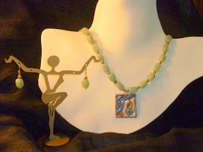 Photo: <BEREHYNYA> {Great Goddess Protectress} unique one-of-a-kind statement jewellery by Luba Bilash ART & ADORNMENT  OLESIA– ОЛЕСЯ - copper enamel pendant, green aventurine, FW pearls, rose gold vermeil SOLD/ПРОДАНИЙ