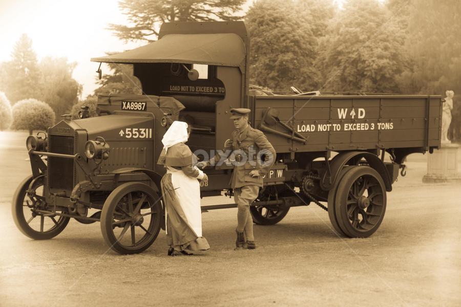 100 years ago by John Walton - Black & White Portraits & People ( soldier, ww1, nurse, heritagefocus, wd, 1914, lorry )