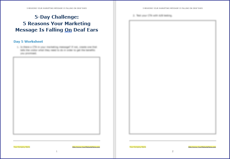 Create Your Marketing Message - 5-Day Challenge Worksheet 5