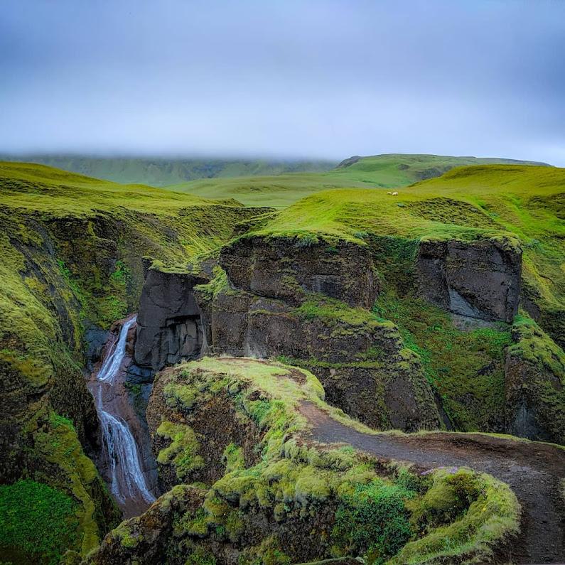 Lush Icelandic Fjaðrárgljúfur canyon and waterfall