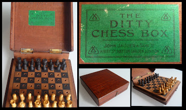 "Photo: ""The Ditty Chess Box"" by Jaques  Not owned, this is the first of this type I have seen - although another collector has told me he once owned one, without a Jaques label. It sold for £454 in August 2012 on eBay! One can only wonder how much the price was influenced by the Jaques label, but a not-vastly-different unbranded set (in a simpler lidded wooden case) sold for only £50 a few days earlier.  Ah! - the magic in a name, some more than others."