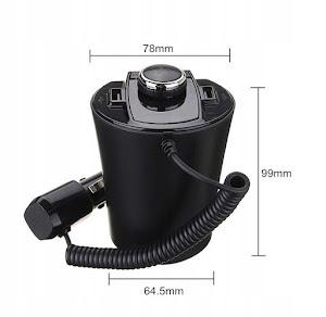 Transmitator auto ElektroStator BX6, Bluetooth, FM, 2 x USB, Negru