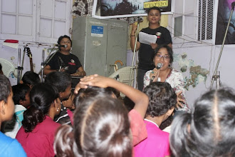Photo: The first pouring at Prerana: Ritika sings for the children at Prerana