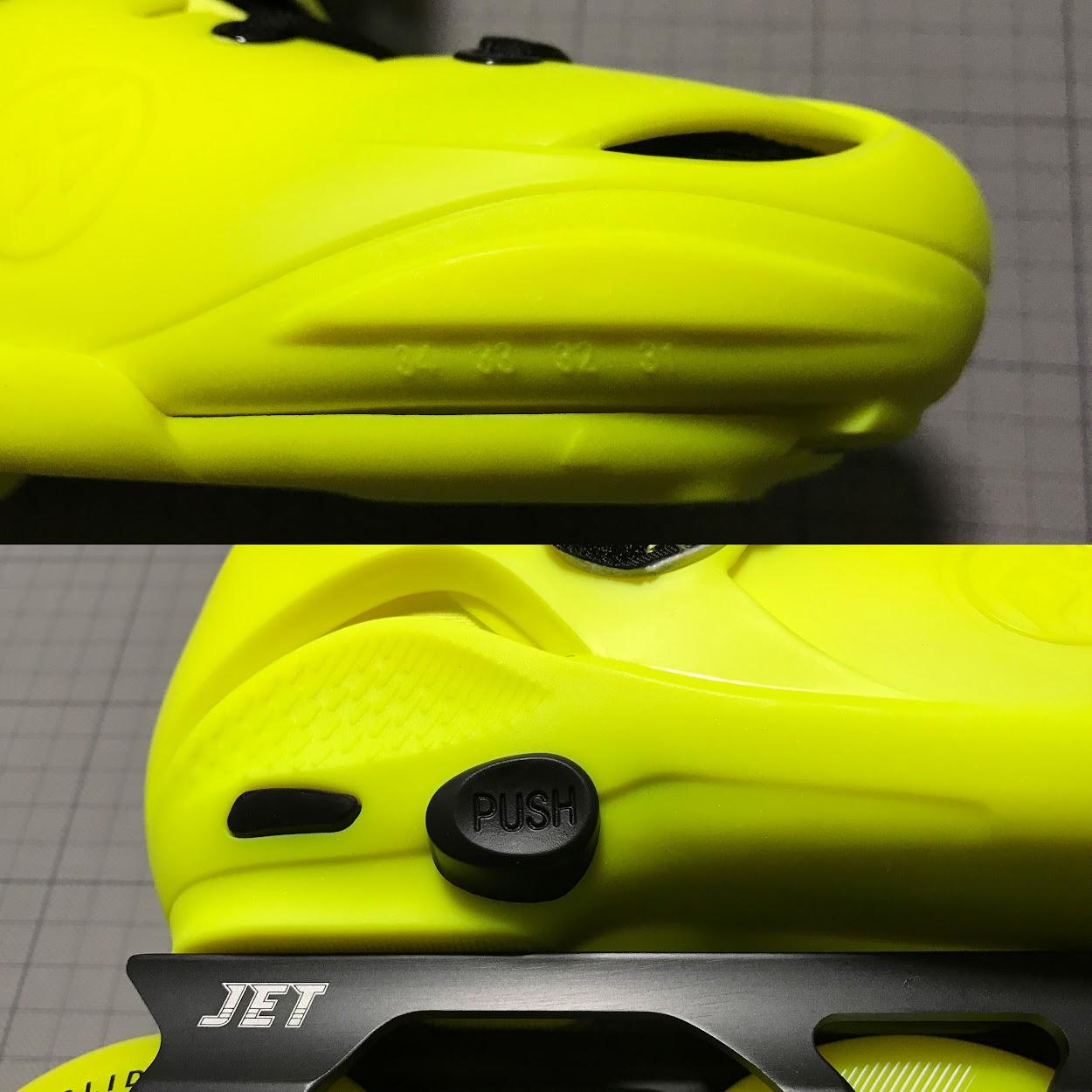 上:ブーツ前部のサイズ合わせ位置 下:ブーツ後部のサイズ調整用ボタン