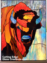 Photo: Commissioned to translate a painting by Meg Harper into a stained glass window. Buffalo, Bison, prairie animal. Handmade, original art backlit.