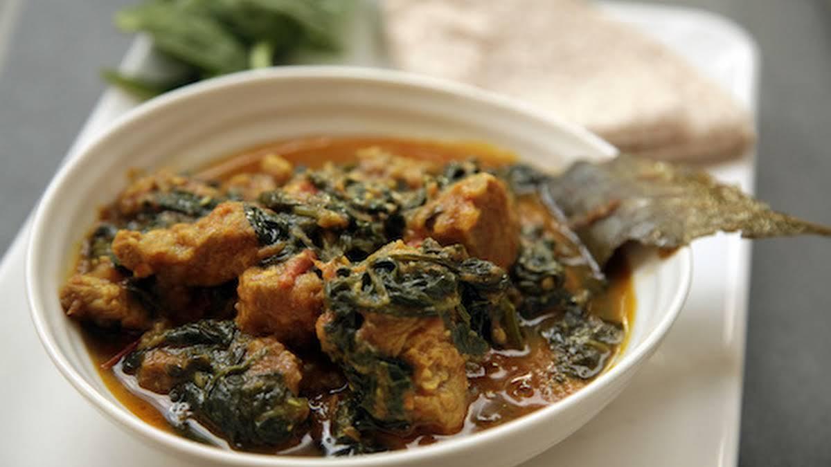 Suar Palak Ka Gosht Pork And Spinach Curry