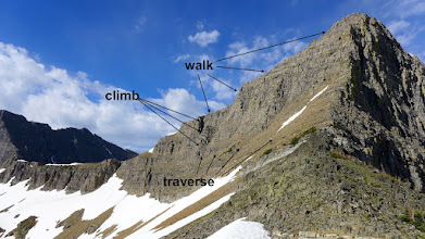 Photo: This is my approximate route (if I remember correctly). It was a little dangerous. Later in this album, you will see a better route that I took the following year when I did the climb with two friends.