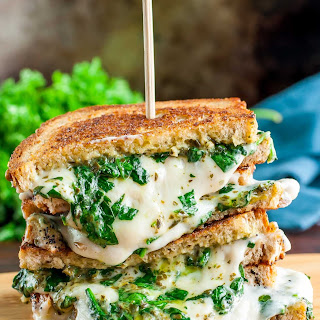 Easy Cheesy Vegan Spinach Pesto Grilled Cheese Recipe