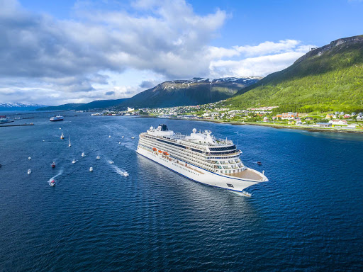 Viking Sky in Tromso, a city in northern Norway and major cultural hub above the Arctic Circle.
