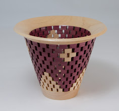 "Photo: Bob Burdberg 6"" x 5"" open segmented bowl [purple heart, peach]"