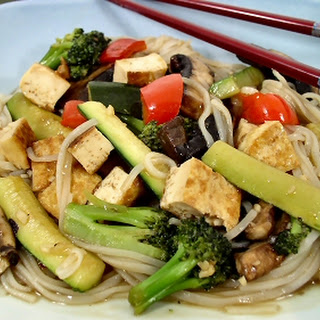 Hurry-up Hoisin Tofu and Vegetables with Rice Noodles.