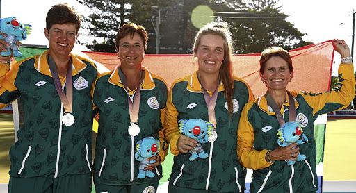 Bowled over: SA's silver medal winners, from left: Esme Kruger, Nicolene Neal, Johanna Snyman and Elma Davis. Picture: GETTY IMAGES