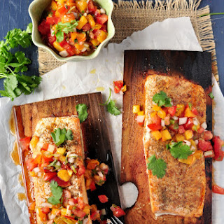 Cedar Plank Salmon with Peach Pico De Gallo