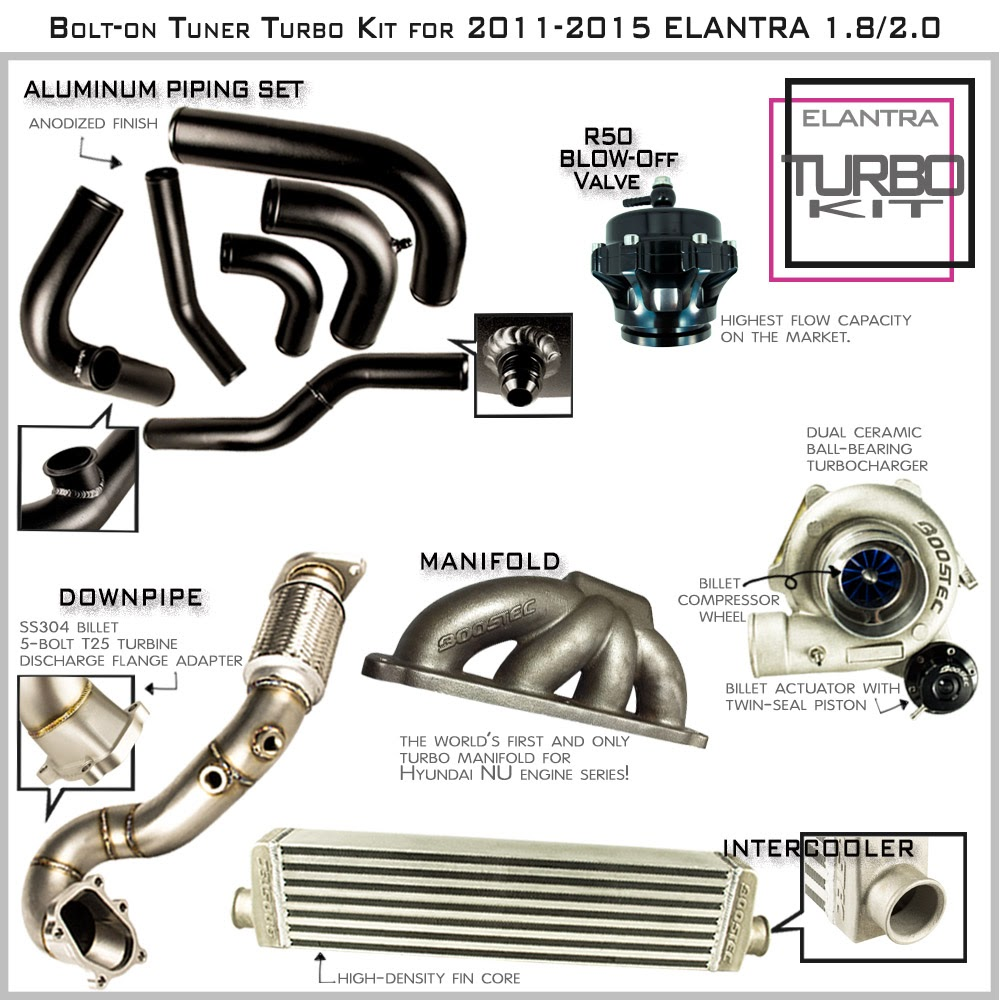 Details About Boostec Bolt On Tuner Turbo Kit For 2011 2015 Elantra 1 8 2 0