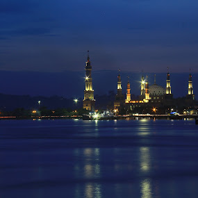 Islamic Center by Havidz Zhurrahman - Landscapes Starscapes ( samarinda, islamic, mosque, long exposure, natural, nightscapes )