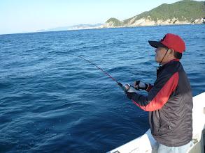 Photo: 今日は、夜釣りですが、ちょっと寄り道。 戸田さん、今日もインチクで!