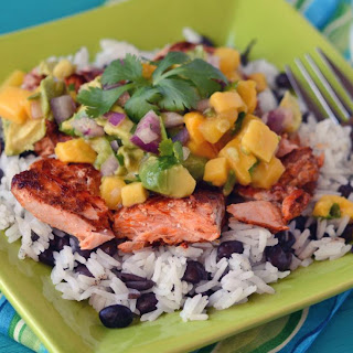 Instant Pot Caribbean Salmon and Rice with Tropical Salsa.