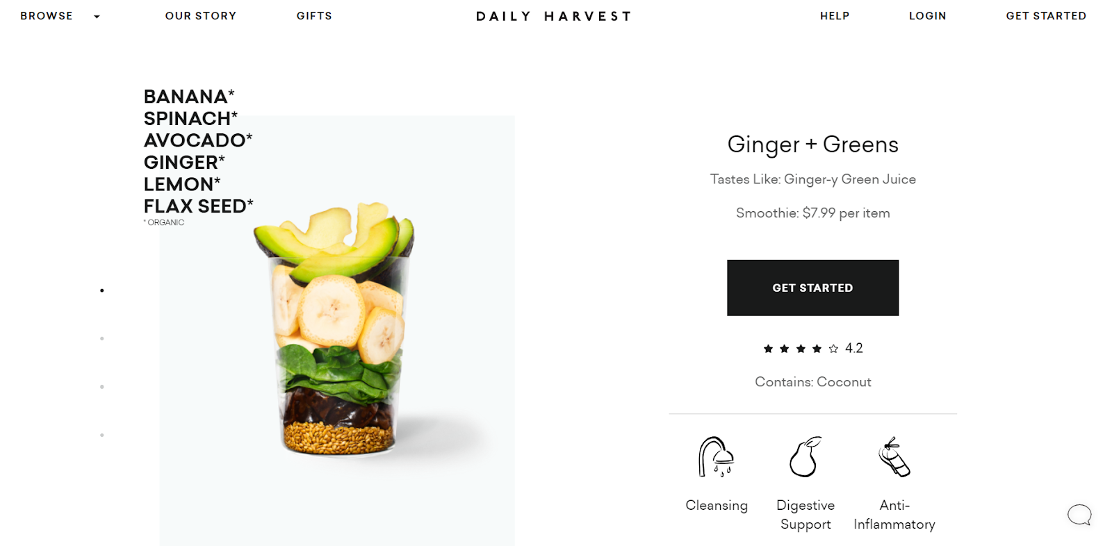 Daily Harvest product page design