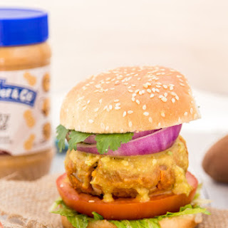 Peanut Butter Sweet Potato Lentil Burgers
