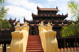 Photo: Year 2 Day 55 -  The Beautiful Teak Monastery -  Shwe in Bin Kyaung