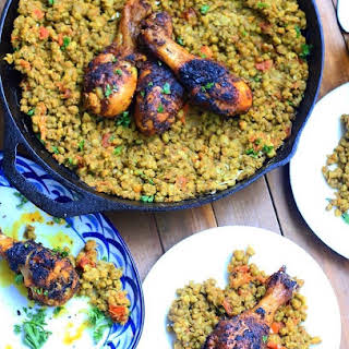 Berbere Chicken with Ethiopian Spiced Mung Beans.
