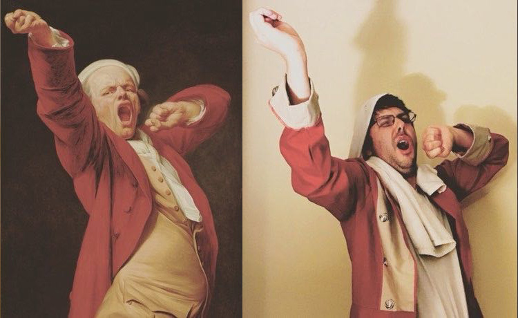 eft: Person with glasses yawning. Right: Ducreux's self-portrait shows a white-haired man in a red waistcoat yawning.