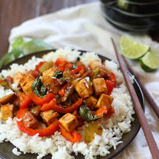 Tofu, Basil and Caramelized Shallot Stir-Fry