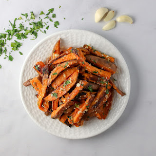 Garlic and Herb Baked Sweet Potato Fries.