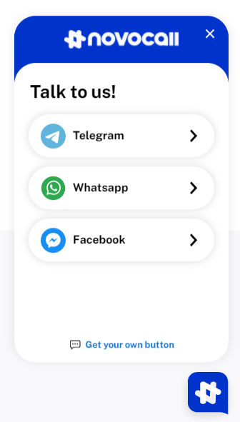The omnichannel chat solution Novochat offers a website chat widget to easily connect website visitors with businesses.