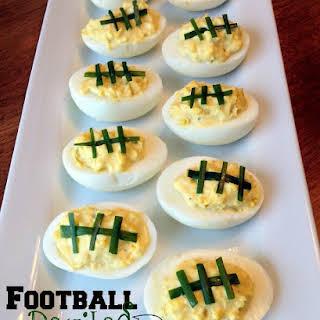Football Deviled Eggs.