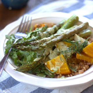 Roasted Veggie Farro Salad with Creamy Dill Tahini Dressing