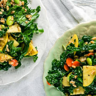 Asian Kale Salad with Farro, Apples, and Edamame.