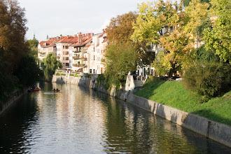 Photo: Ljubljanica ilta-auringossa.