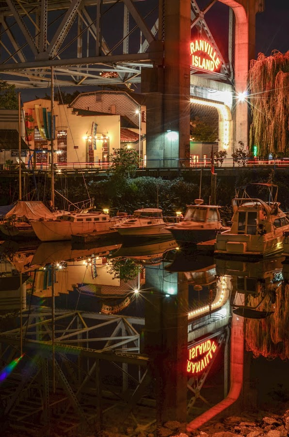 Entrance to Granville Island by Cory Bohnenkamp - City,  Street & Park  Night ( water, reflection, market, granville, night, vancouver, city, island )