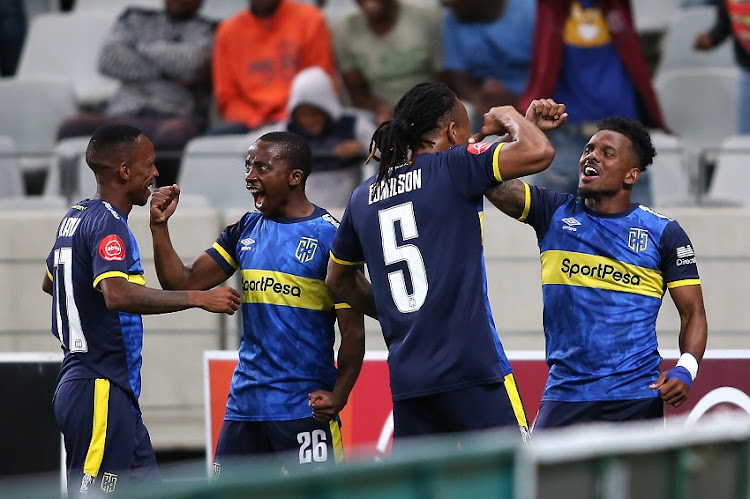 Kermit Erasmus of Cape Town City celebrates his goal with Edmilson Dove of Cape Town City during the Absa Premiership match between Cape Town City FC and Bidvest Wits at Cape Town Stadium on January 18, 2020 in Cape Town, South Africa