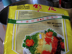 "Photo: packaging of mung bean (green bean) starch sheet (called ""Shanghai"" noodles)"