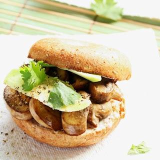Sauteed Mushrooms and Avocado Bagel Sandwich.