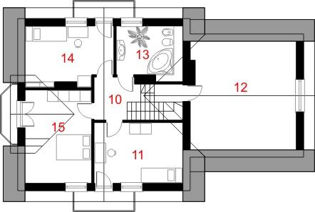 Dom przy Cyprysowej 28 - Rzut poddasza